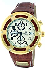 Aqua Master Men's Pirate Series Brown Leather & Cutout Gold Bezel 0.20ct Diamond Watch W#346