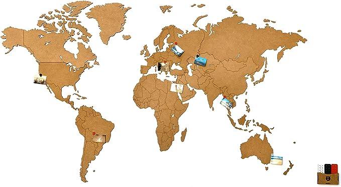 868 opinioni per MiMi Innovations- Lussuosa Decorazione da Parete in Legno con Mappa del Mondo