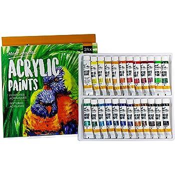 Mont Marte Set Pinturas Acrílicas para Cuadros, Trabajos Artísticos y Manualidades - Pack 24 Colores Fríos y