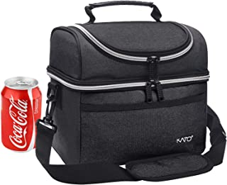 Kato Insulated Lunch Bag, Leakproof Thermal Bento Cooler Tote for Women and Men, Dual Compartment with Adjustable Shoulder Strap and Front Pocket, Black