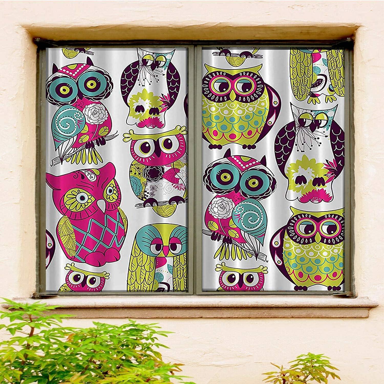 Owl Decor Fuchsia depot Green Yellow Abstr Purple safety White Dark Turquoise