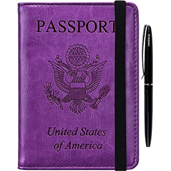 HERRIAT Leather Passport Holder Cover Case RFID Blocking Travel Wallets Card Case