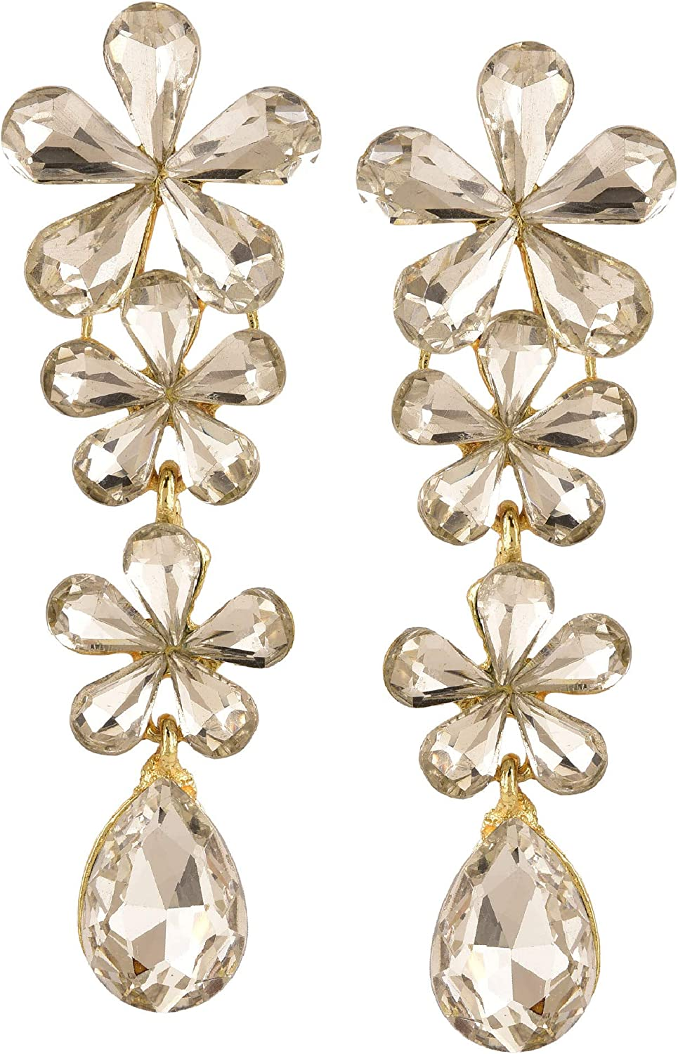 Efulgenz Fashion Gold Plated Crystal Chandelier Floral Dangle Hanging Statement Wedding Earrings Jewelry