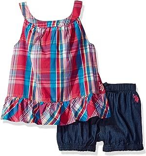 U.S. Polo Assn. Girls' Ruffle Flyaway Back Tank Top with Pull on Denim Short