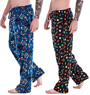 Mens Pack of 2 Retro Games Lounge Pants | Game Over/Controller Designs | Soft Fleece Sleep/Lounge Wear | Gamer Gift Idea -...