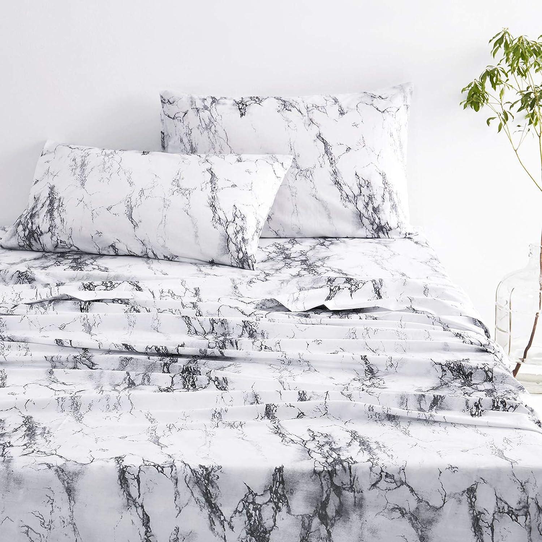 Wake Ranking TOP9 In Cloud - Marble Sheet Cotton 100% Black Whi Austin Mall Bedding Set