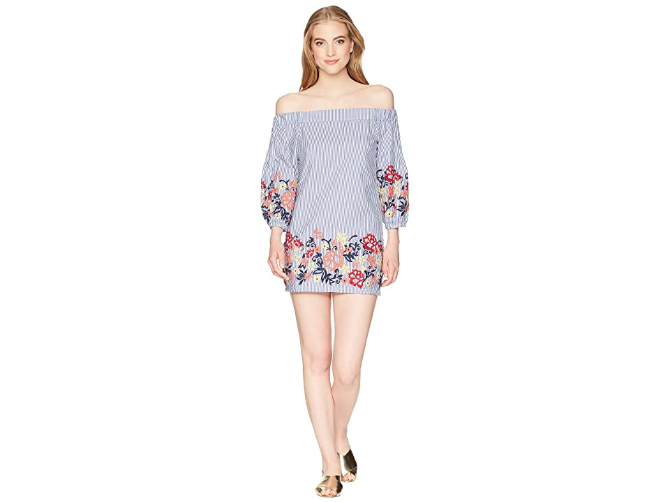 ROMEO & JULIET COUTURE Floral Embroidered Off Shoulder Dress (Blue Multi) Women