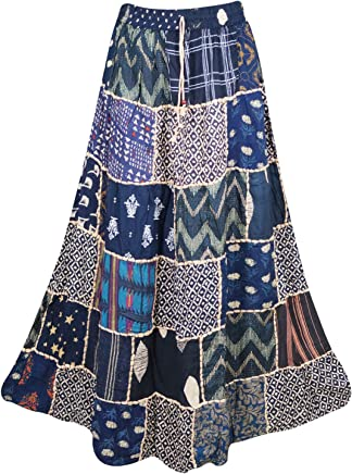 Mogul Interior Women Maxi Skirt Patchwork Blue Rayon Tribal Boho Flare Skirts S/M
