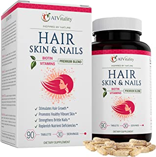 Hair, Skin, Nails Vitamins With Biotin - Hair Growth Formula For Healthy Hair, Powerful Minerals, Nutrients, Amino Acids, ...