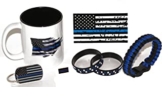 11.oz American Flag/Police Thin Blue Line Coffee Cup and Stars and Stripes Gift Pack