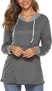 Women's Long Sleeve Color Block Pullover Hoodies Pocket Sweatshirt Tunic Tops