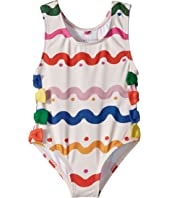 Stella McCartney Kids - Lisa Squiggly Print Swimsuit w/ Bows (Infant)
