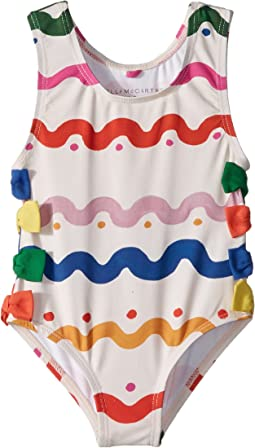 Lisa Squiggly Print Swimsuit w/ Bows (Infant)
