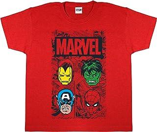Marvel Comics Caras héroe Camiseta de los Muchachos | mercancía Oficial | Las Edades de 3-15, Regalos de Marvel, Avengers ...