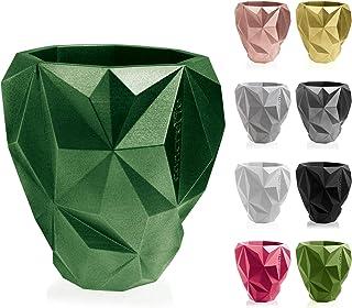 CONCRETTE Flower Pot, Green Metallic, Ø 19-25x27x28 cm