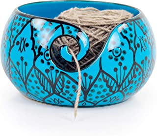 Ceramic Attractively Hand Painted Gorgeous Stoneware Yarn Ball Storage Bowl with Innovative Dispensing Curl | Knitting & C...