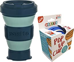 Pokito Pop Up Cup 475ml Pocket-Sized Reusable and Travel Mug - One Mug Pops to Three Sizes - Screw-top, Spill-Proof Lid, Built-in Insulation, Moss/Forest, DLE0056GR