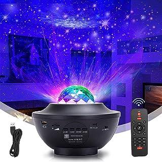 SternenhimmelProjektor Wellig RotierendesNachtlicht Projektionslampemit Fernbedienung Musikplayer mit Lichtwechseln übe...