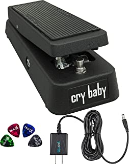 Jim Dunlop GCB95 Cry Baby Standard Wah Pedal Bundle with Blucoil Slim 9V Power Supply AC Adapter, and 4-Pack of Celluloid Guitar Picks