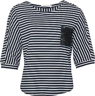 c446ea8aeb2f97 Monari 404512 338 Damen Shirt gestreift mit 3/4-Arm Brusttasche mit  Pailletten,