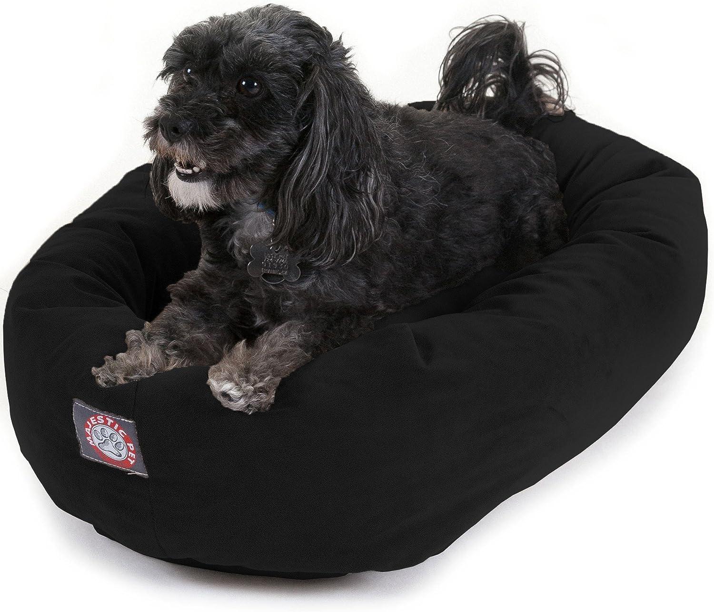 Majestic Pet 24  Black Velvet Bagel Dog Bed