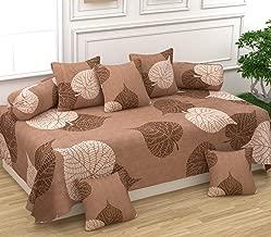 Gurnoor 3D Printed Leaf Diwan Set(1 Diwan Sheet, 2 Bolster Covers and 5 Cushion Covers)(Brown)