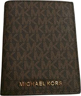 Michael Kors Jet Set Travel Passport Holder Wallet Case Brown Signature