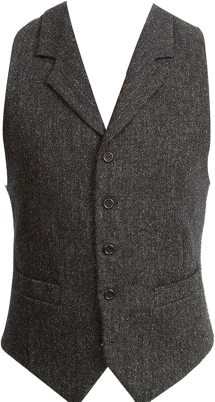 HBDesign Mens 1 Piece 5 Button Lapel Casual Black Vest
