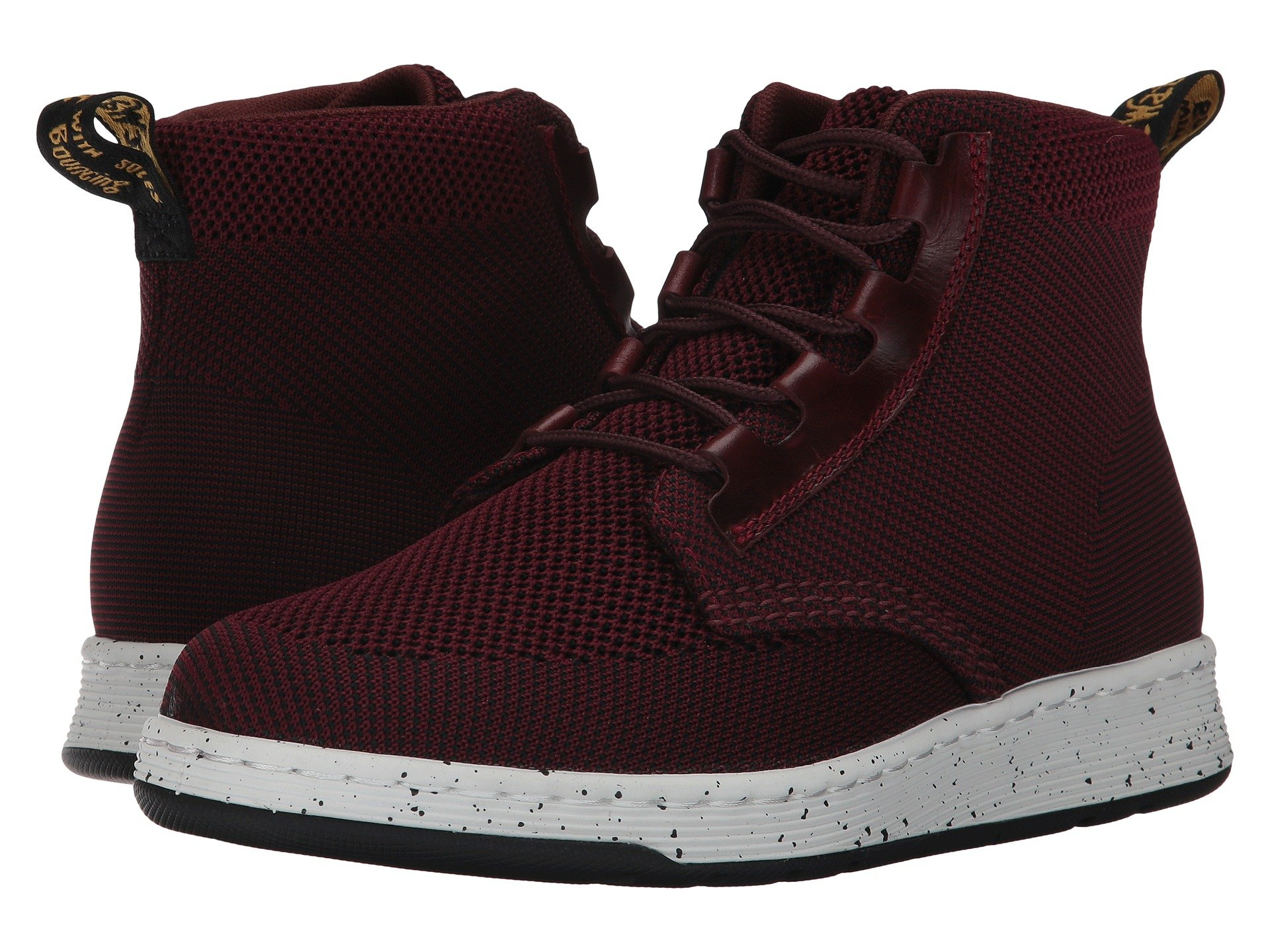 Telkes Knit Padded Collar Boot, Oxblood/Black Kint Textile/Oxblood Brando