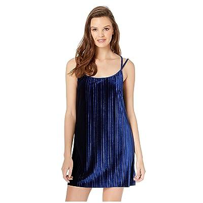 Jack by BB Dakota Pasadena Pleated Velvet Slip Dress (Dark Blue) Women