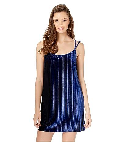BB Dakota Pasadena Pleated Velvet Slip Dress (Dark Blue) Women