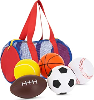 "Balls for Kids - Foam Sports Balls -3.5"" Perfect for Small Hands - Includes 1 Soccer Ball, 1 Basketball, 1 Baseball, 1 Foo..."
