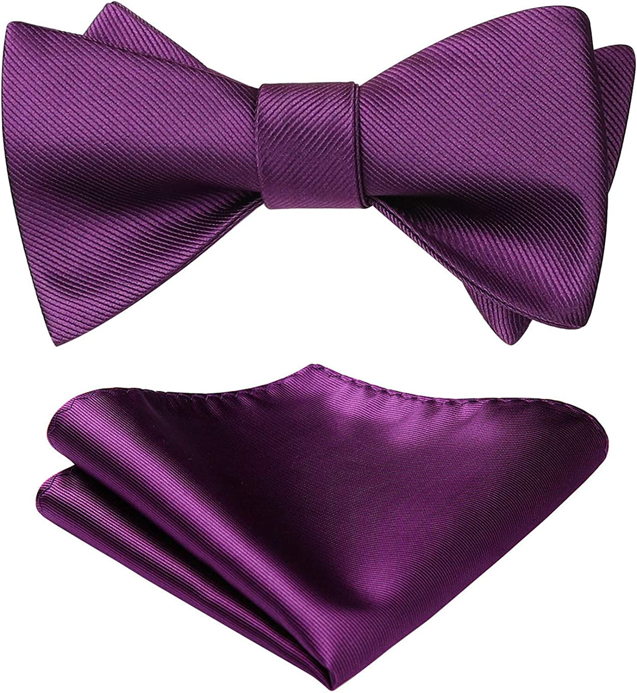 Bowties Men Bow Ties for Men Self-Tie Bow Tie and Pocket Squares Solid Color Bowtie Formal Tuxedo Handkerchief Set