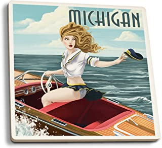 Lantern Press Michigan - Pinup Girl Boating (Set of 4 Ceramic Coasters - Cork-Backed, Absorbent)