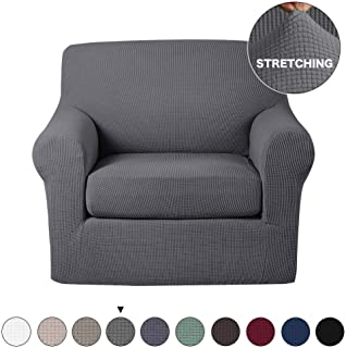 Turquoize 2 Piece Chair Slipcovers with Elastic Bottom Gray Sofa Slipcover Sofa Cover Furniture Protector for Living Room Arm Chair Cover with Polyester Jacquard Small Check (Chair, Charcoal Gray)
