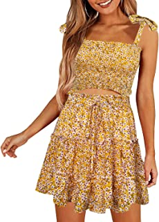 Arjungo Women's Bohemian Striped Printed Crop Top with High Waist Shorts Two Piece Outfit Suit Set - Yellow - 4