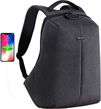 OUTJOY Anti Theft Travel Backpack Waterproof Laptop Backpack for Men Women Lockable Computer Backpack with USB Charging Port Padded Compartment for 15.6 inches Laptop School Backpack TSA Friendly Grey