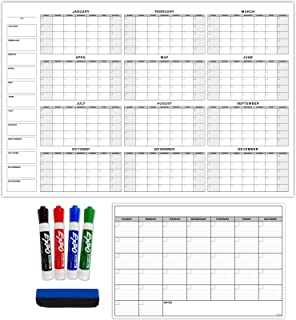 $48 » Giant Dry Erase Laminated Calendar for Wall Yearly Monthly Large Erasable Undated Task Organizer Planner for Office Classr...