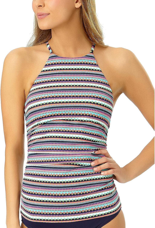 Anne Cole New Women's High Neck Strappy Back Tankini Swim Top Multicolor