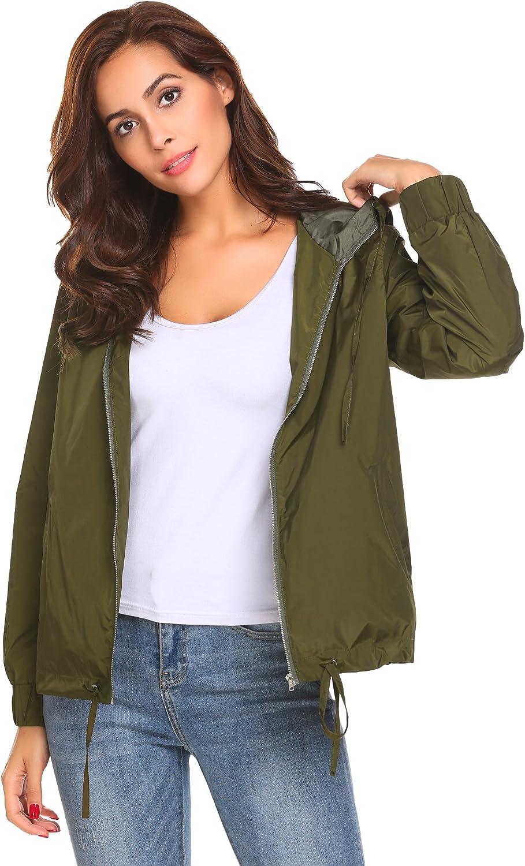 SummerRio Women's Black Lightweight Waterproof Jacket Hooded Raincoat