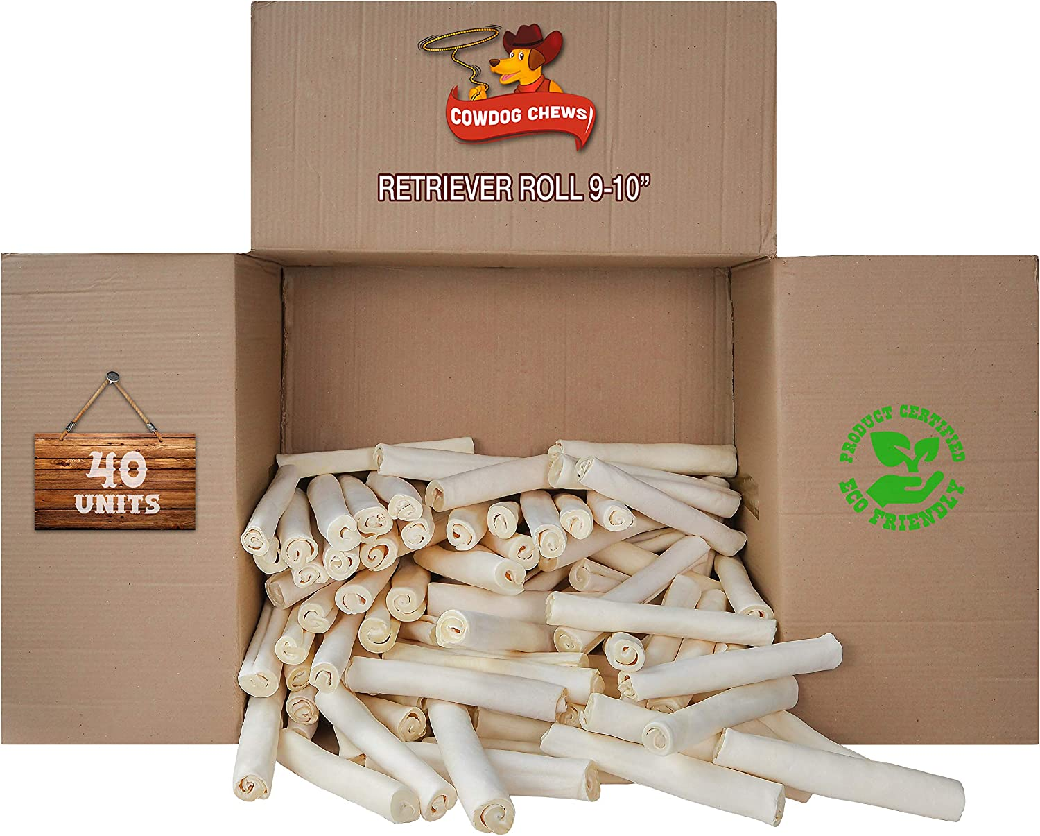 Retriever roll 9-10 inch All famous Product Rawhide Genuine Natural 40 Pack
