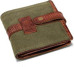 DRAKENSBERG Geldbörse und Portemonnaie, 3fach gefaltet, handgemacht im Vintage-Design, Kimberley-Wallet, Canvas und Echt-Büffel-Leder, Oliv-grün, braun, DR00170