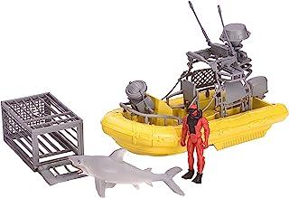 Wild Republic E-Team X Shark Set Playset, Action Figure, Shark, Boat, Diving Cage, Gifts for Kids, 4-Piece Set 15394 , Cuddlekins