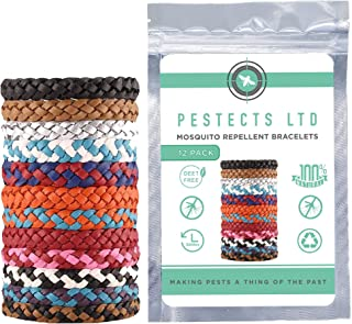 Pestects Mosquito Repellent Bracelet 12 Pack, Adjustable Leather Deet-Free Natural Mosquito Bands For Adults & Kids, Lasts Up To 300 Hours, Waterproof
