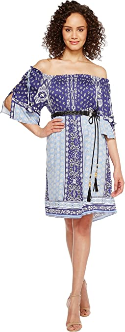 Boho Bandits Rayon Stretch Satin Woven Off the Shoulder Dress