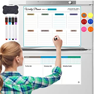 Alizay Star Magnetic Dry Erase board with Habbit Tracker to do list notepad, Magnetic weekly daily planner, Magnetic White...