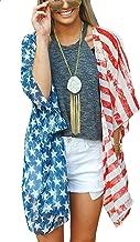 Women's Summer Swimsuit Beach Wear Kimono Cover Up American Flag Tops Cardigan