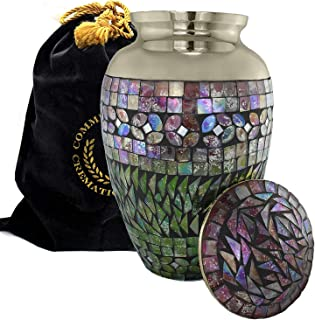 Iridescent Mosaic Cracked Glass Brass Metal Funeral Cremation Urn for Human Ashes - Extra Large, Large and Keepsake, Aluminum, Multicolor, Large - Silver