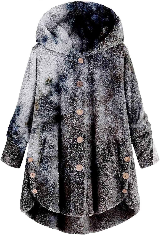 Women's Fleece Pullover Comfy Tie Dye Hoodie Casual Button Down Coats Loose Side Split Long Sleeve Outwear