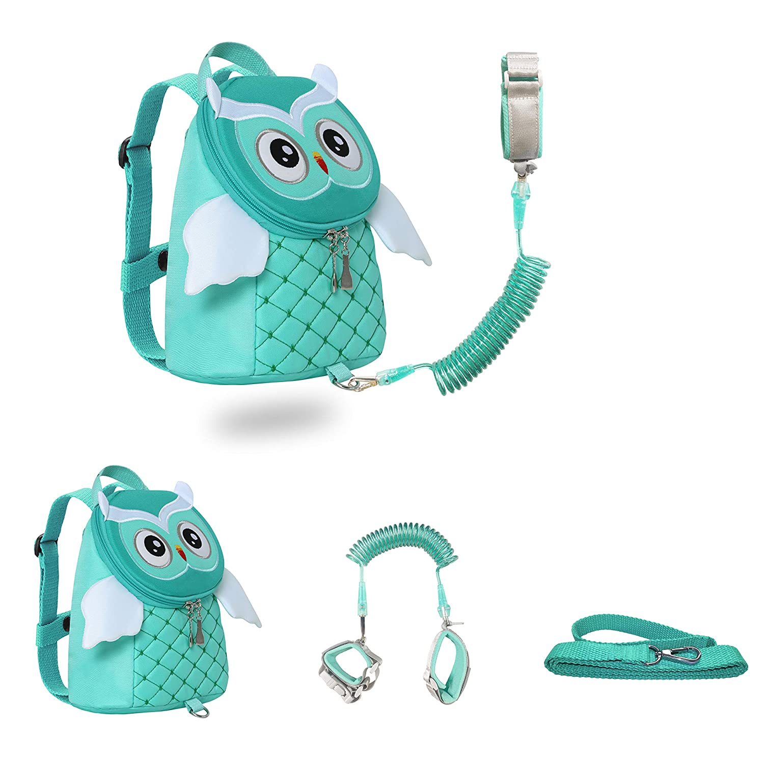 JIANBAO Owl Toddler Backpacks with Leashes Anti Lost Wrist Link for 1.5 to 3 Years Kids Girls Boys Safety (Owl, Green)